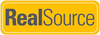 RealSource Logo on gold background with white trims